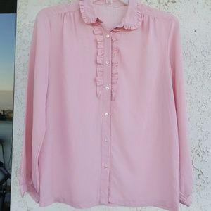 Vintage ruffled secretary pink blouse